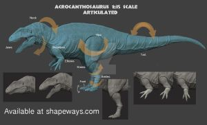 Articulated Acrocanthosaurus by GalileoN