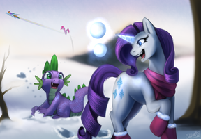 [Commission] Fun in the Snow by OblivionHeart13