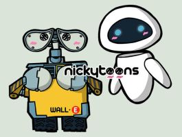 Wall-E and Eve by NickyToons