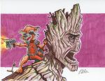 Groot And Rocket sketch by Duff03