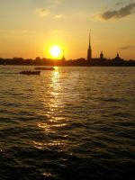 Sunset + Peter and Paul Fortress + Neva river by timurchan