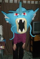 Trying on Gyarados costume head by spookysculpter