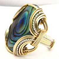Wire Wrapped Abalone   Silver / 14kt Gold Ring by JandSGems