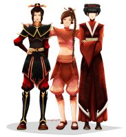 ty lee, mai and azula (faves) by thelegendofzuko