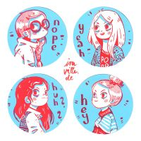 Shy Girls Sticker Set by Iraville