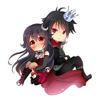 -- Chibi couple commission for XxNemi-ChanxX -- by Kurama-chan