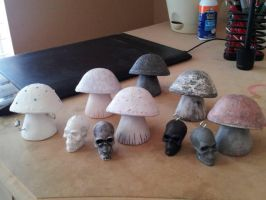 Hand made mushrooms and skulls by lovely-girl-92