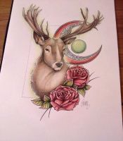 Stag and Roses by Shanrocket