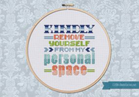 Kindly Remove Yourself... cross stitch quote by cloudsfactory