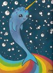 Rainbow Narwhal by philophobiaphorever