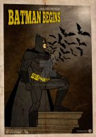 Batman Begins Vintage Poster by GTR26