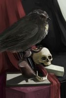 vanitas with an owl and a book by hyokka