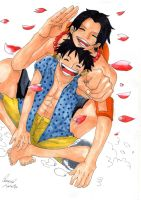 One Piece Rufy and Ace with Copic by SaraMangaka
