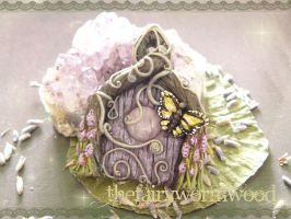 Lavender Fairy Door by EnchantedTokenArt