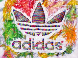 Adidas in fabric and paint by Ankhet1056