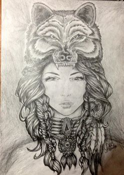 Traditional native american woman pencil drawing by customartspe