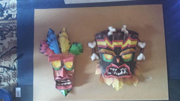 Aku Aku and Uka Uka Papercraft by MilanRKO