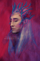 Mixed Media Thranduil by LindaMarieAnson