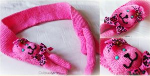 Pink Kawaii Kitty Scarf by Cateaclysmic