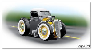 Cartoon Hot Rod Pickup by S-P-U-D