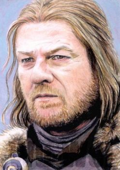 Ned Stark sketchcard by whu-wei