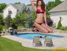 Giantess Karlie Kloss backyard pool by lowerrider
