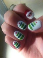 christmas mustache tree nails :D by courtneyrox4444