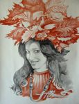 October Girl (mixed media on paper) by AdrianMoraru