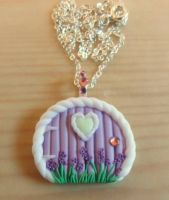 Lavender flower fairy door by Stefimoose