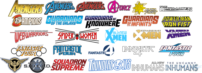 MARVEL Comics Hero Teams title cards (c) 2016 by MOMOpJonny
