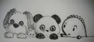Dino and Panda and Doggie by MelodicInterval
