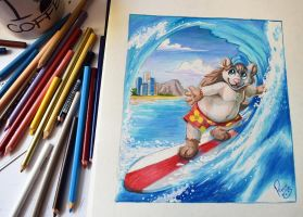 Hawaii Summer Surfing by pandapaco