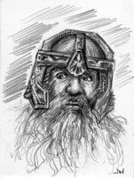 Gimli Lord of the Rings Sketch Card ACEO by Stungeon