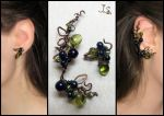 Ear cuff and stud Black currant by JSjewelry