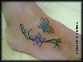 tattoo butterfly and flowers by gilrizzo