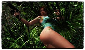 surprise on the grass: Lara without her shorts 2 by BL65