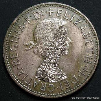 'Abundance' Hand Engraved Floral 1966 Penny by shaun750