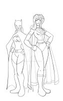 Batgirl and Supergirl redesign by wonderfully-twisted