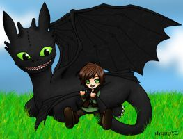 HTTYD-Toothless and Hiccup by alvi-chi