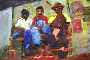 three men and a bench by tawny