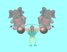 Weight-Lifter and the Elephants by SpaceCadetAmy