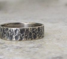 Mens Hammered Distressed Ring Silver Band by SilverSmack