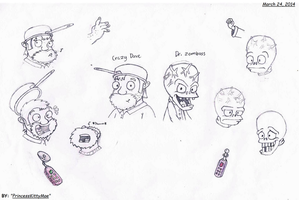 PvZ- Crazy Dave and Dr. Zomboss Sketch by PrincessKittyMae