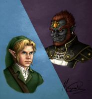 Ganondorf and Link by l-gray-l