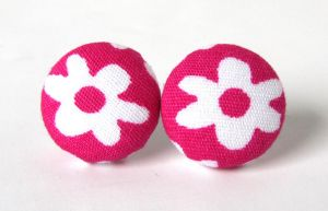 Pink flower earrings 2 by KooKooCraft