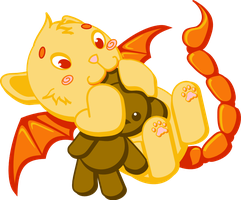 Baby Manticore with Teddy by wolframlogistics