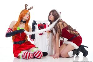 Katarina (Slay Belle) e Miss Fortune (Candy Cane) by Maxsy66