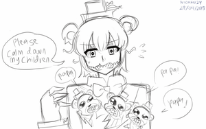 [SKETCH] Freddy with his demon hell spawn(?) by nichandesu