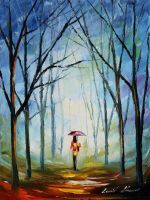 Pink umbrella by Leonid Afremov by Leonidafremov