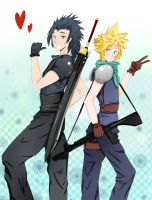 Besties - Zack and Cloud by Kuro-x-Sora
